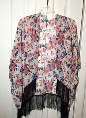 Floral kimono worth navy blue fringe for Sale in Stockton, CA
