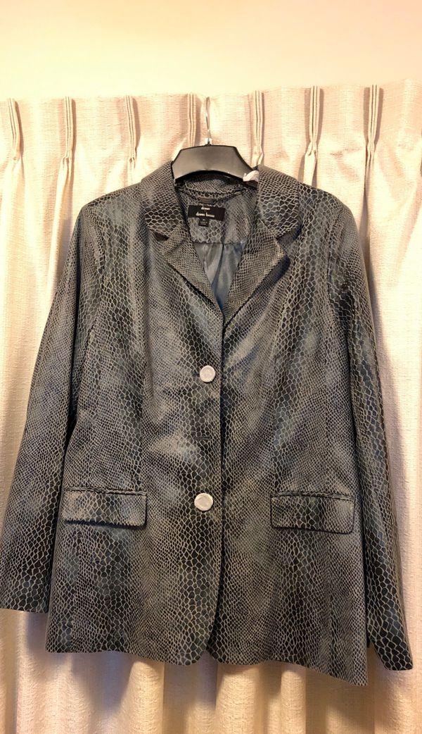 Dennis Basso Faux Leather Python print jacket woman size XL