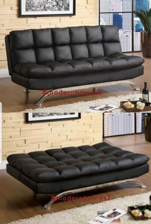 super comfortable black leather sofa bed sleeper couch for Sale in Ontario, CA