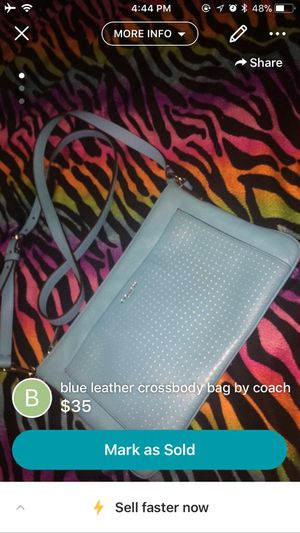 Blue leather body bag coach for Sale in Colorado Springs, CO