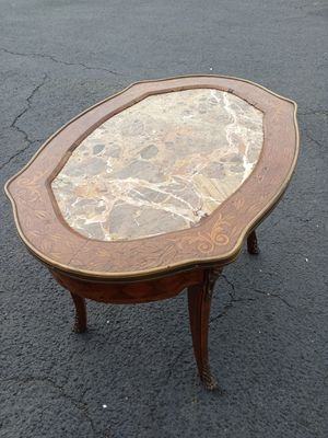 Antique Wood Table with Marble Inlay for Sale in Seminole, FL