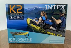 Intex Explorer K2 Kayak, 2-Person Inflatable Kayak Set with Aluminum Oars and High Output Air Pump for Sale in Chicago, IL