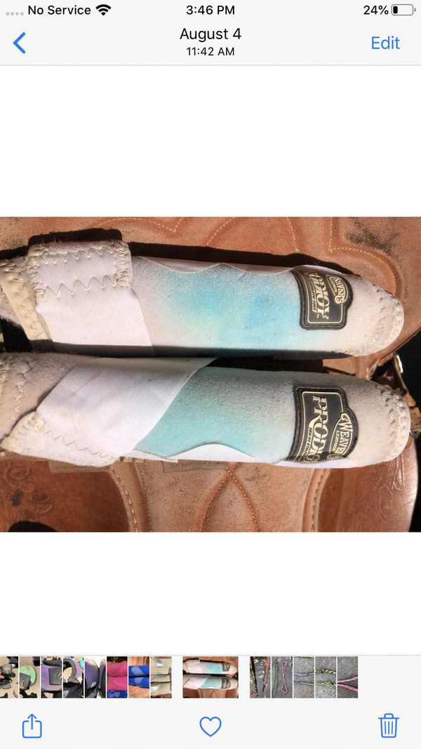 Horse splint boots white with turquoise