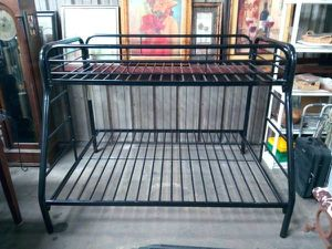 Black Metal Twin Loft Over Full Bunk Bed for Sale in Tampa, FL