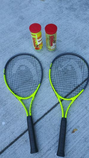 Head tennis rackets w/ x2- 3 packs or tennis balls $45 for Sale in San Jose, CA