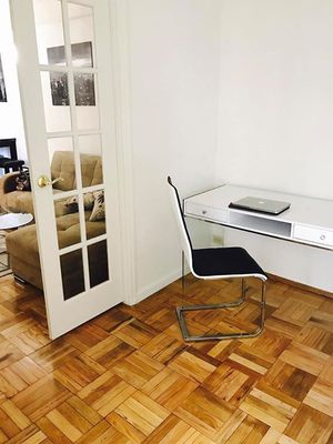 White computer table with glass legs. Super Stylish. Looks like brand new. With stylish chair for Sale in New York, NY