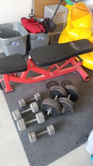 Adjustable bench and dumbbells for Sale in Santee, CA