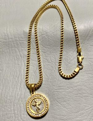 Franco Style PVD GOLD PLATED 3mm Necklace 20&22&24inches In length with cz Angel charm for Sale in Orlando, FL