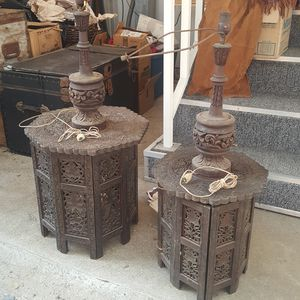 Antique carved wooden folding octagon tables and 2 wooden lamps for Sale in Placerville, CA