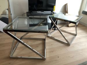 2 glass/mirror end tables for Sale in Washington, DC