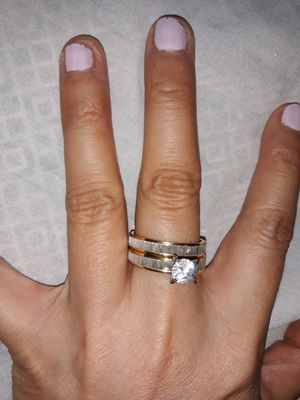 Set 2 Piece 18 K Gold Plated Simulant Diamond Engagement Wedding Ring , Size 8. for Sale in Dallas, TX