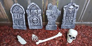 Want Cemetery Decorations? Set of 8 Tombstones and 12 Skeleton Bones for Sale in Escondido, CA