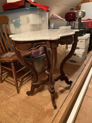 Antique wood table with marble top for Sale in Menlo Park, CA