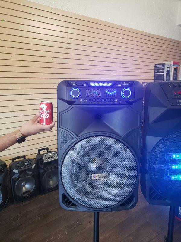 "Bocina Nueva Bluetooth Karaoke Speaker 15"" Woofer LED Lights / Wireless 🎤 / USB / MICRO SD CARD / FM RADIO 📻 . 📦 Rechargeable 🔋 +++"