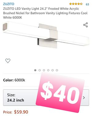 "ZUZITO LED Vanity Light 24.2"" Frosted White Acrylic Brushed Nickel, Luz for Sale in Montclair, CA"