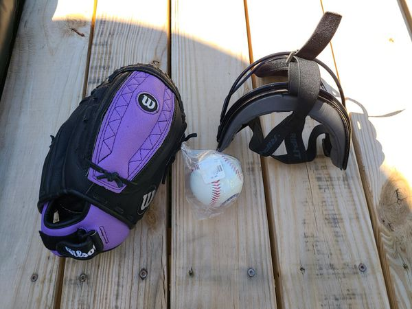 Wilson Baseball Softball Glove Monsta Web Fastpitch Series, a RIP-IT Youth Defense Fielder's Mask and a New Texas Rangers Baseball