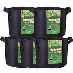 VIVOSUN 5 Pack Grow Bags Garden Non-Woven Aeration Plant Fabric Pot Container Heavy Duty,With Handles. for Sale in Elmwood Park, NJ