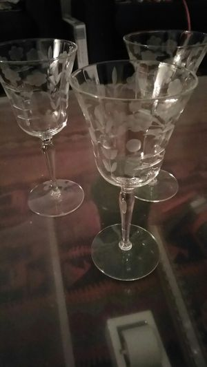 3 pretty Etched glasses for Sale in Knoxville, TN