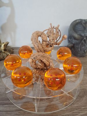 Japanese anime dragon ball z wood color shenron with 7 crystal dragon ball and clear stand figure toy for Sale in Rosemead, CA