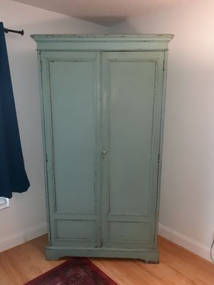 Vintage armoire shabby chic- look chipped paint over mahogany for Sale in Oakland Park, FL