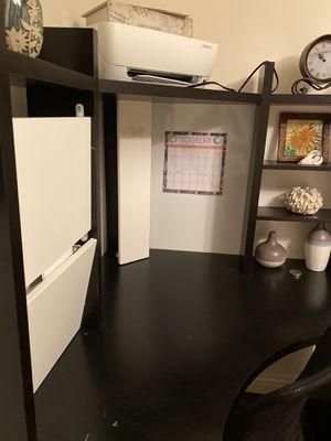 Dark brown Wooden Study Computer Corner Desk With Drawer for Sale in Mission Viejo, CA