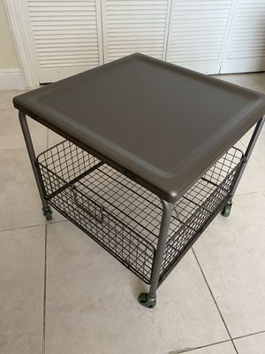 Ikea iron wheeled table width 20 X length 20 X height 19 for Sale in Miami, FL