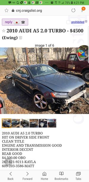 2010 audi a5/s5 parts for Sale in Cherry Hill, NJ