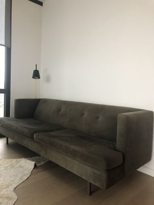 CB2 Midcentury Modern Sofa with Brushed Stainless Steel Legs for Sale in New York, NY