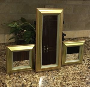 """3 Mirrored Wall Hangings - 2 Small are 6.5"""" square and the taller one is 6.5"""" x 14"""" for Sale in Smyrna, TN"""