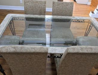 Marble and Glass Table with Iron Legs and Designing for Sale in Suwanee,  GA