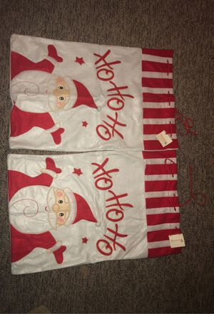 """2 Drawstring 28.5"""" x 18"""" Cloth Red & White Santa Claus Christmas Gift Bags for Presents or Gifts: Ornament, Decoration, Holidays, Festive, Kids for Sale in Plainfield, IL"""