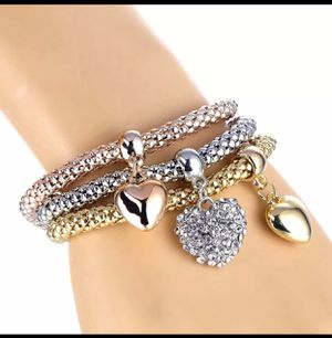 3 PIECES CHARM BRACELETS HEART STYLE for Sale in Los Angeles, CA