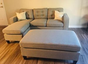 Brand New Light Grey Linen Sectional Sofa Couch +Ottoman for Sale in Silver Spring, MD