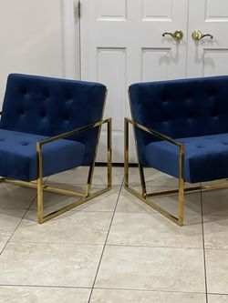 Brand New Blue Velvet Metal Frame Accent Chairs, Retails For Over $800 for Sale in Fowler,  CA