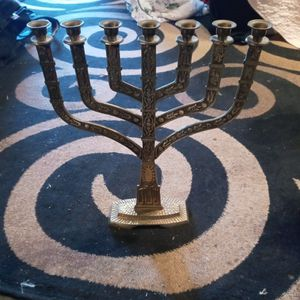1970, Solid Brass Menorah, Israeliana, Jewish candelabra, Jewish home decor, Hanukkah for Sale in Thousand Oaks, CA