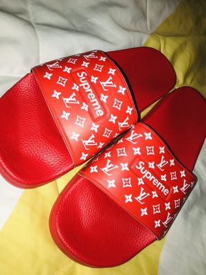Red Louis Vuitton - Supreme Slides Size 12 for Sale in Columbus, OH