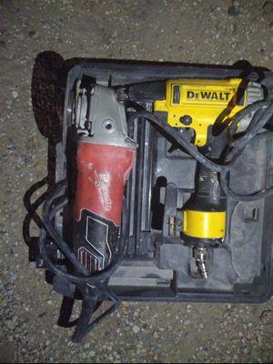 Milwaukee grinder and dewalt nail gun for Sale in Dallas, TX