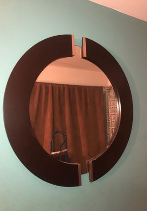 Circular shaped dark wood mirror for Sale in Santa Monica, CA