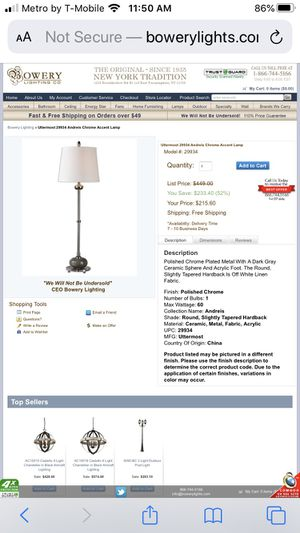 Uttermost Lamp NEW for Sale in Old Bridge Township, NJ