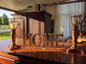 Rose Gold Home sign with 2 candle holders for Sale in Suffolk, VA