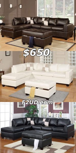 New espresso, white or black bonded leather sofa Sectional with storage Ottoman for Sale in Ontario, CA