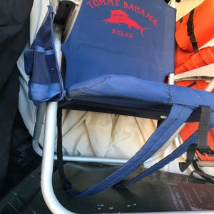 Tommy Bahamas Folding Beach Sport Whatever Chairs, With Backpack Carrying, Cooler, Soda Holders, Storage Zipper Area for Sale in Anaheim, CA