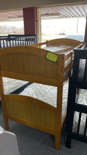 Bunkbed Bunk Bed Twin over Twin Size Light Walnut Color CT7 for Sale in Euless, TX