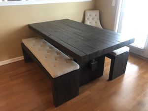 West Elm Emmerson Reclaimed Wood Dining Table, Benches, and Tufted Cushions for Sale in Alpharetta, GA