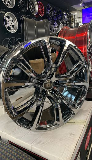 22x9 JEEP CHEROKEE REPLICA DARK CHROME RIMS AND TIRES (5x127) for Sale in La Habra, CA