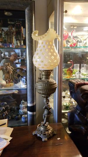 Fenton glass tall oil lamp, electric, antique for Sale in Vista, CA
