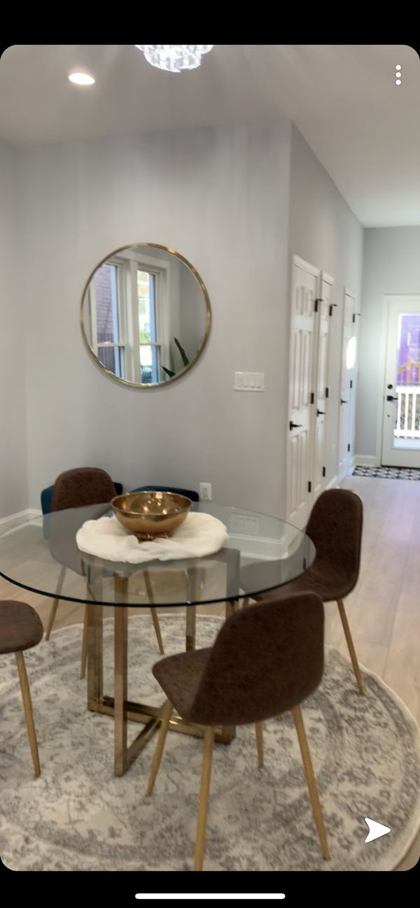 Gorgeous Round brass kitchen or dining table w/4 chairs