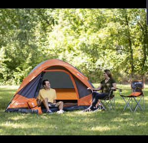 NEW Camping 22 piece Combo Set - 4 person Tent, 9ft by 7ft, 2 sleeping bags & pillows & mats, 2 camp chairs, lantern for Sale in Glendale, AZ