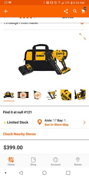Dewalt finish nail gun with charger and batterie for Sale in Fresno, CA