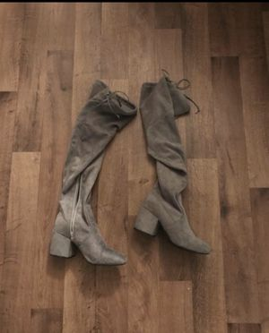 Gray thigh high boots for Sale in Tempe, AZ
